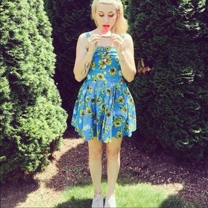 Hell Bunny Dress Pinup Retro Style Sunflower Print